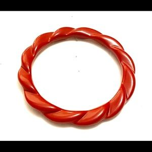 Vintage red plastic bangle bracelet